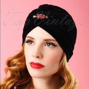 Pink Collar Life Heart Pin Velvet Turban